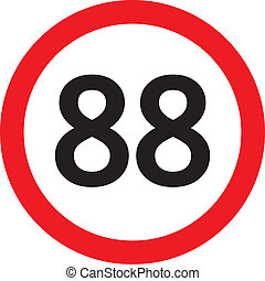 number 88 in a red circle speed limit