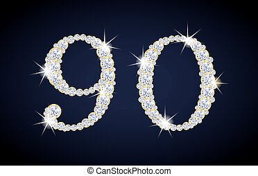 Number 9 and 0 composed from diamonds with golden frame. Complete alphanumeric set.