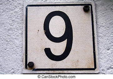 House address plate number 9