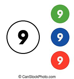 Number 9 icon vector