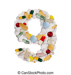 Number 9 made of pills