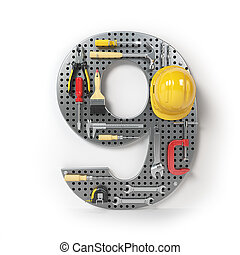 Number 9 nine. Alphabet from the tools on the metal pegboard isolated on white.