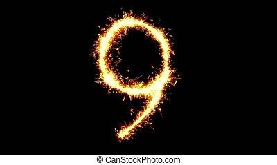 Number 9 Text Sparkler Glitter Sparks Firework Loop...