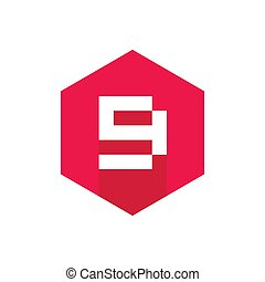 46edcc7d Number 9 Vector Icon Design, Red Color Hexagonal icon With Long Shadow