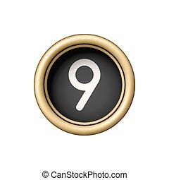 Number 9. Vintage golden typewriter button.