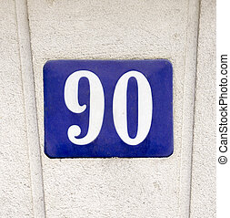Number 90 - porcelain house number ninety. White lettering ...