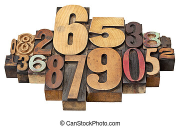 number abstract in wood type