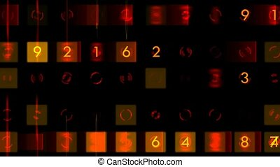number and color morph square background,seamless loop