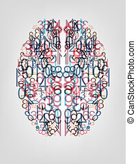 Number  background. Digital brain