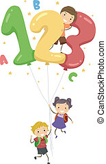 Illustration of Kids Playing with Number-Shaped Balloons