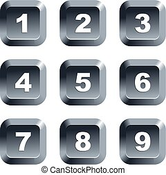 number buttons - collection of numbers set on keypad style...
