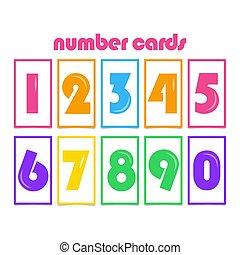Number Cards for Kids Vector Template Design Illustration
