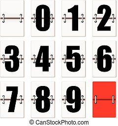 Number cards with counter flaps as used on train time tables