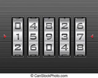 number combination lock background - Metallic combination...