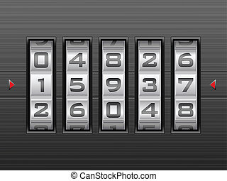 Metallic combination lock with five number. Vector illustration.