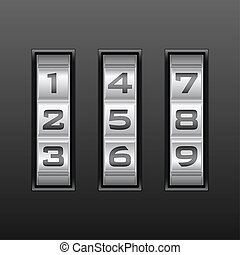 number combination lock - Metallic combination lock with...