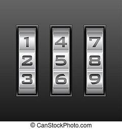 Metallic combination lock with three number. Vector illustration.