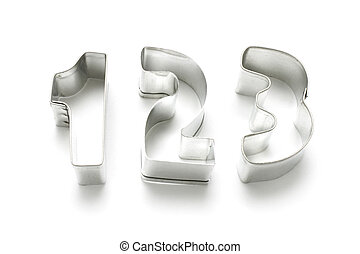 Number Cookie Cutters on White Background