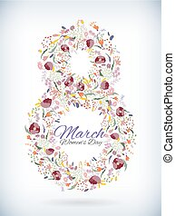 Number eight 8 of flowers. Sketch element for international womens day. vector illustration