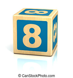 number eight 8 wooden blocks font