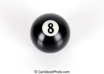 Billiard ball -number eight on white background