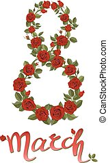 number eight created from red rose flowers