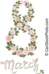 number eight created from rose flowers