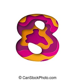 Number Eight, cut out paper. Vector illustration.