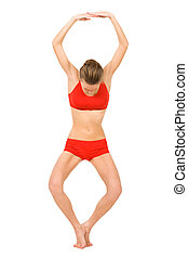 Image of young girl practicing physical exercise forming number eight