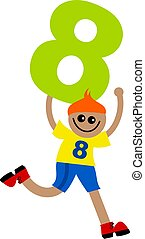Happy little ethnic boy holding a giant number eight.