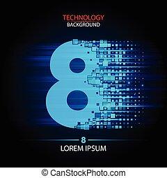 Number eight logo vector technology design