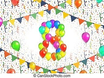 Number eight made up from colorful balloons on white background with confetti