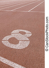 Number eight on a running track