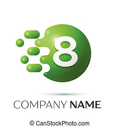 Number eight splash logo. Green dots and bubbles number design on grey background. Vector Illustration