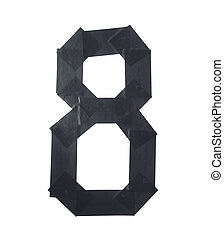 Number eight symbol made of insulating tape