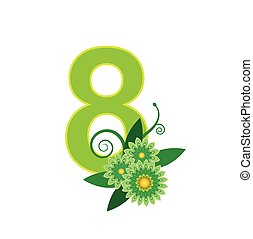 Number eight with floral vector