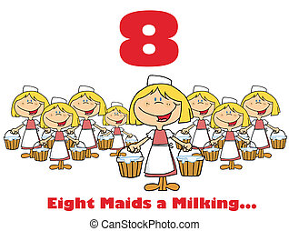 Number Eight With Girl - Maid Milking On A Christmas ...