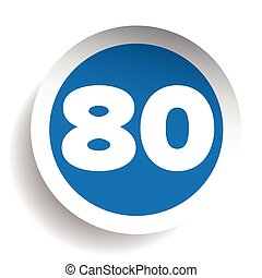 Number eighty icon vector