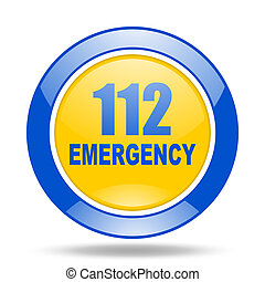 number emergency 112 blue and yellow web glossy round icon