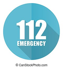 Number emergency 112 vector icon, flat design blue round web button isolated on white background