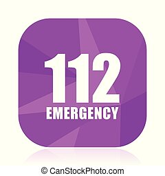 Number emergency 112 violet square vector web icon. Internet design and webdesign button in eps 10. Mobile application sign on white background.