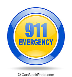 number emergency 911 blue and yellow web glossy round icon