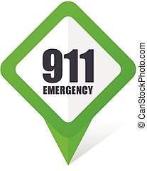 Number emergency 911 green square pointer web and mobile...