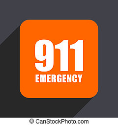 Number emergency 911 orange flat design web icon isolated on gray background