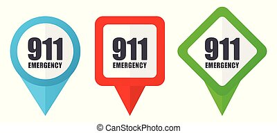 Number emergency 911 red, blue and green vector pointers icons. Set of colorful location markers isolated on white background easy to edit.