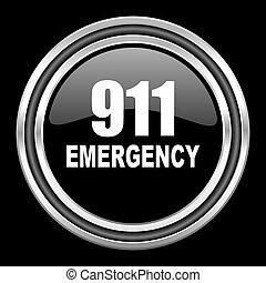 number emergency 911 silver chrome metallic round web icon on black background