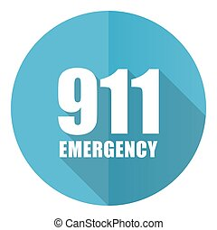 Number emergency 911 vector icon, flat design blue round web button isolated on white background