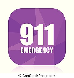 Number emergency 911 violet square vector web icon. Internet design and webdesign button in eps 10. Mobile application sign on white background.