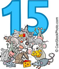 number fifteen and cartoon mice group - Cartoon Illustration...
