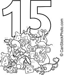 number fifteen and funny mice group - Black and White...